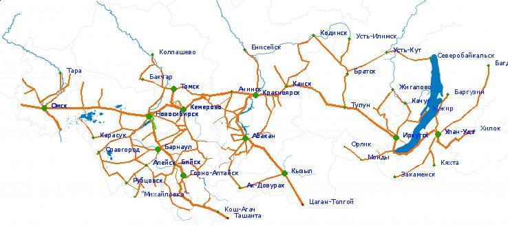 Карта дорог - область масштаба